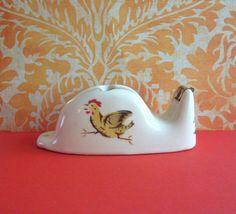 Vintage Ceramic Rooster Tape Dispenser