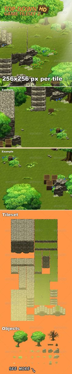 TopDown Game Tileset 2 HD — Photoshop PSD #animation #game • Available here → https://graphicriver.net/item/topdown-game-tileset-2-hd/7858373?ref=pxcr