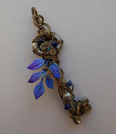 Steampunk Wire Wrapped Key Pendant with Large Crystal Leaf -- Winter Clockwork…