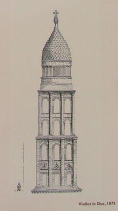 Perigueux, Cathedrale Saint-Front, Dessin de Viollet le Duc en 1875.jpg (Image JPEG, 437×778 pixels) - Redimensionnée (83%)