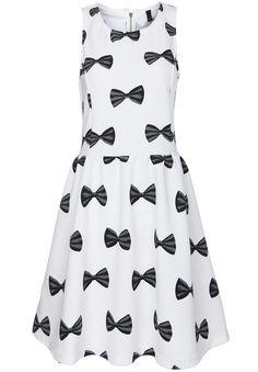White Sleeveless Bow Print Pleated Dress US$33.00