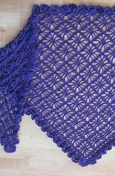 Delicate and light crochet shawl pattern with long fringing. Crochet Motifs, Crochet Stitches Patterns, Crochet Shawl, Sewing Patterns Free, Crochet Lace, Knitting Patterns, Crochet Prayer Shawls, Crochet Patron, Crocodile Stitch