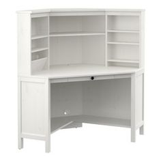 IKEA - HEMNES, Corner workstation, white stain, , Solid wood is a durable maybe put microwave in the middle paint it gray add more shelves on the bottom. Ikea Linnmon, Ikea Micke, Computer Desk With Hutch, Desk Hutch, Corner Computer Desks, Computer Tables, Bookshelf Desk, White Corner Desk, Ikea Corner Desk