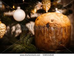 italian traditional Panettone in Christmas background