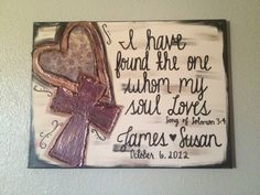 Heart Cross Couple name & Wedding Date textured canvas - I have found the one whom my soul loves via Etsy