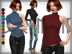 Sims 4 CC's - The Best: One-Shoulder Turtleneck Sweater by DarkNighTt