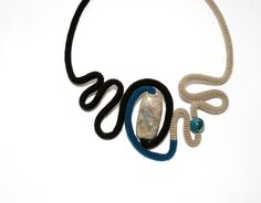 Abstraction Necklace Crochet Tube Free Motion Sculpture Black Teal Beige