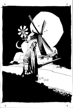 Hellboy in Holland par Mike Mignola - Illustration