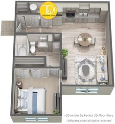 Luxury one-bedroom apartment floor plan in St. render of a one-bedroom apartment in Florida. 2 Bedroom Apartment Floor Plan, Small Apartment Plans, Small Apartment Layout, Studio Apartment Floor Plans, Studio Apartment Layout, Modern Apartment Design, Bedroom Floor Plans, 3d House Plans, Small House Plans