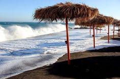 Backpacking Greece:Santorini,Perissa Black Beach Santorini Greece, Wind Turbine, Backpacking, Places To Visit, Greek, Sea, Country, Amazing, Holiday