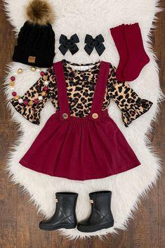 55db35633e Burgundy Cheetah Suspender Skirt Set. Suspender SkirtToddler OutfitsLittle  Girl ...