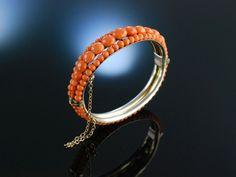 Antique Coral Bracelet! Italien um 1880, Armreif Sardegna Koralle Lachskoralle Silber vergoldet
