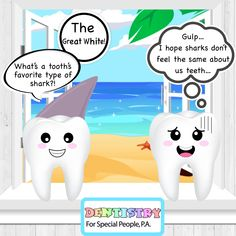 🐬What's a tooth's favorite type of shark?👀The great white! Types Of Sharks, Pediatric Dentist, The Great White, Shark Week, Special People, Dentistry, Tooth, Feelings, Fictional Characters