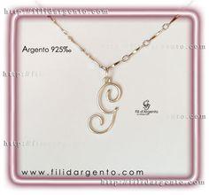 "Pendente Iniziale ""G"" Wire in Argento 925‰ / Pendant Initial ""G"" Wire Silver 925‰"
