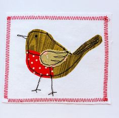 Beautiful appliqué of a Christmas robin on cotton canvas. Mounted on sturdy matt card. Christmas Applique, Christmas Sewing, Christmas Cards To Make, Christmas Embroidery, Christmas Crafts For Kids, Applique Templates, Applique Patterns, Applique Quilts, Applique Cushions