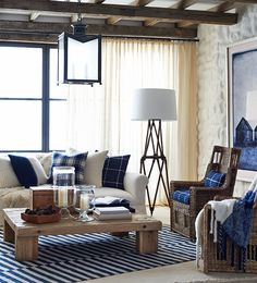 Modern Home Ideas: White and Blue Living Room. Structuring the living room is very important in the house because it became the first place that is assessed by someone when we visited our home. Coastal Living Rooms, Living Room Colors, Home Living Room, Living Room Decor, Living Spaces, Blue And White Living Room, White Rooms, Look At My, Interior Decorating