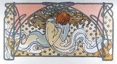 Alphonse Mucha, Kissing Mermaids, Estate Lithograph