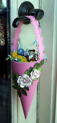 Marcia here today with a tutorial on how to make a May basket. As a child, I made baskets like this and filled them with cand. Craft Stick Crafts, Diy And Crafts, Paper Crafts, Spring Crafts, Holiday Crafts, May Day Baskets, Paper Cones, Diy Easter Decorations, May Days