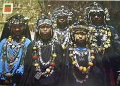 Africa    Morocco.  Postcard image dated 1972, shows women from Tata (a town in Morocco, situated on the Sahara plain, close to the Algerian border and the mountain range Anti Atlas at the foot of Jebel Bani.)
