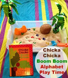 What child doesn't love Chicka Chicka Boom Boom? I'm pretty sure 50 of the 1000 books before Kindergarten on our sheet are just this book. Here's a fun sensory bin to play with the alphabet! Beach Theme Preschool, Preschool Literacy, Preschool Themes, Preschool Lessons, Literacy Activities, In Kindergarten, Toddler Activities, Preschool Activities, Toddler Preschool