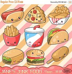 Kawaii Junk Food Designs Clipart Download - Hot Dog - Burger - Taco - Burrito - Soda - Corn Dog - Pizza - Fish and Chips - Fries - Cheat Day - Cute Food -------------------------------------------- Included in this package: - 1 ZIP file - 9 images - All visible on sample page - Transparent PNG images - 300 DPI - Approx. 2.5x2.5 Inches per image - Goes well with > https://www.etsy.com/listing/462238915/kawaii-condiments-clipart-cute?ref=shop_home_active_20 ---------------------------...