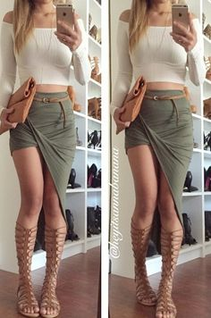 Twisted Unbalanced Skirt - Olive                                                                                                                                                                                 More