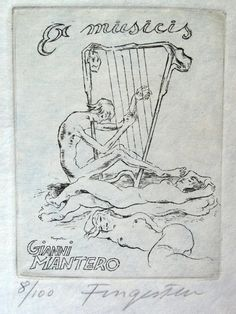 Michel Fingesten - erotisches Exlibris für Gianni Mantero - 1/800, signiert in Antiquitäten & Kunst, Antiquarische Bücher, Bibliophilie & Buchkunst, Exlibris | eBay