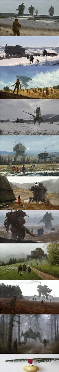 Jakub Różalski paints the 20th century history of Poland in SteamPunk style. There will be game based od his creations called Iron Harvest