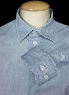ARMANI COLLEZIONI Mens Dress Shirt Size XL Extra Large Faded Blue Long Sleeve #ArmaniCollezioni