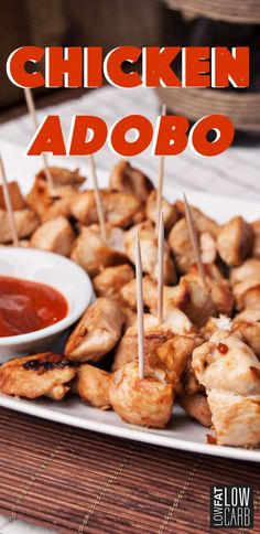 If you don't feel like cooking dinner tonight the Chicken Adobo recipe is for you! This chicken dish is not only quick and easy to make but tasty too! Diabetic Recipes, Meat Recipes, Low Carb Recipes, Cooking Recipes, Protein Foods, Protein Recipes, Chicken Adobo, Low Fat Low Carb, Ideal Protein