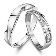 Personalized Name His and Her Promise Rings Set Sterling Silver