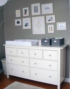 grey and white nursery decor - photo collage above the change table Baby Boy Rooms, Baby Room, Kids Rooms, Nursery Layout, Nursery Ideas, Nursery Decor, Room Ideas, Grey White Nursery, Kids Room Paint