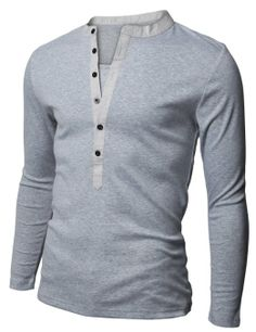 12c30195d98 Doublju Mens Basic Slim Fit Long Sleeve Henley Shirts at Amazon Men s  Clothing store