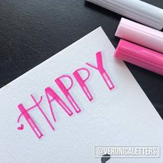 I hope you guys have found happiness today. ▫️ @tombowusa Dual Brush Pens ~ 743, 761, N95 ▫️ Canson XL watercolor paper #lettering #happy…