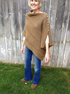 Free knitting pattern for shawl with buttons on edge to convert from a wrap to a poncho -- What a great idea! I Want That Wrap pattern by Carolyn Kinghorn   This and more free textured shawl knitting patterns at http://intheloopknitting.com/textured-shawl-knitting-patterns/