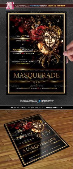 #Masquerade Poster/Flyer - #Events #Flyers Download here:  https://graphicriver.net/item/masquerade-posterflyer/5582184?ref=alena994