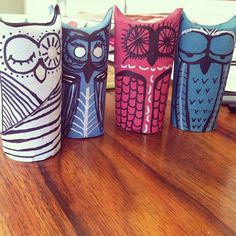 """Finally something to do with all the tubes my daughter """"collects"""" - toiletpapertubeowls5"""