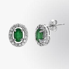 Emerald and diamond stud earrings #fifthbond
