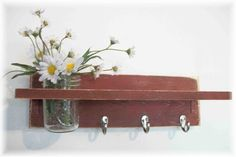 Primitive Country BARN RED  Fall Wood Coat Hooks by ACOUNTRYWAY, $40.00