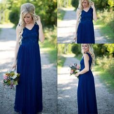 a0b5832d565 2018 Country Bridesmaid Dresses Hot Long For Weddings Navy Blue Chiffon  Short Sleeves Illusion Lace Beads Floor Length Maid Honor Gowns