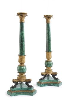 A pair of Louis-Philippe gilt and patinated bronze and malachite candelabra, now mounted as lamps Paris, circa 1845 height of object 26 in. height with fittings 36 in. Elegant Home Decor, Elegant Homes, Floor Lanterns, Plaster Art, Garden Lamps, Blue And Copper, Ornaments Design, Oil Lamps, Candlesticks