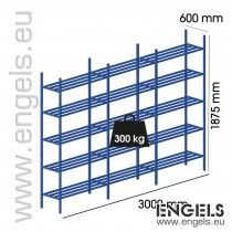 Metalen buis rek 3000x1875x600, 3 vakken, 15 legb.