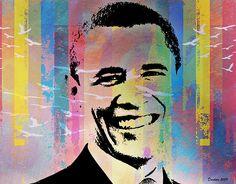 Barack Obama Tolerance Portrait. Digital Art by D. Medich