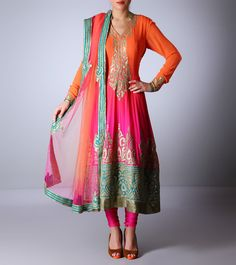 Pink & Peach Georgette #AnarkaliSuit With Stone Work #Indianroots