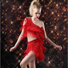 Women Red One Shoulder Studded Sequin Ballroom Dancing Clothing Store SKU-401337