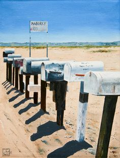 "Saatchi+Online+Artist+John+Tierney;+Painting,+""Mailboxes,+Naborly+Rd,+Twentynine+Palms,+CA+(#2)""+#art"