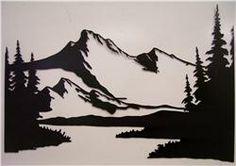 Mountain, stream, trees scene metal art