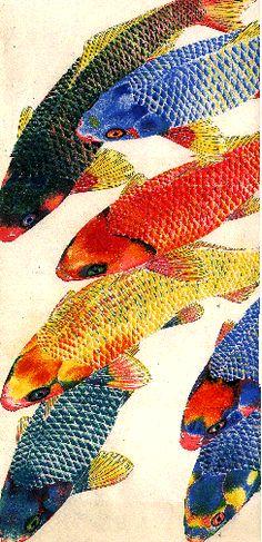 Koi by Sven Beck from Germany Koi Painting, Silk Painting, Koi Art, Fish Art, Fantail Goldfish, Zentangle, Animal Drawings, Drawing Animals, Japanese Koi