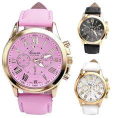e5ab1eab9421a Fabulous New Women s Fashion Roman Numerals Faux Leather Analog Quartz  Wrist Watch relojes mujer 2016 SEP01