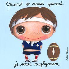 Tableau Isabelle Kessedjian Quand je serai grand je serai rugbyman Belly Painting, Collaborative Art, When I Grow Up, Baby Art, Cute Illustration, Kids Cards, Caricature, Baby Love, Illustrators